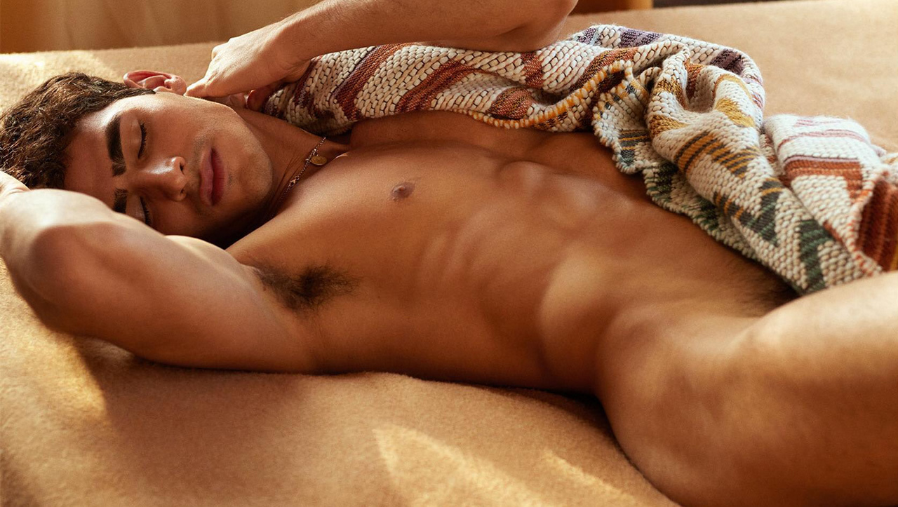 Naked Guy with a Blanket in Bed