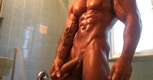 Bodybuilder Stroking His Cock in the Shower