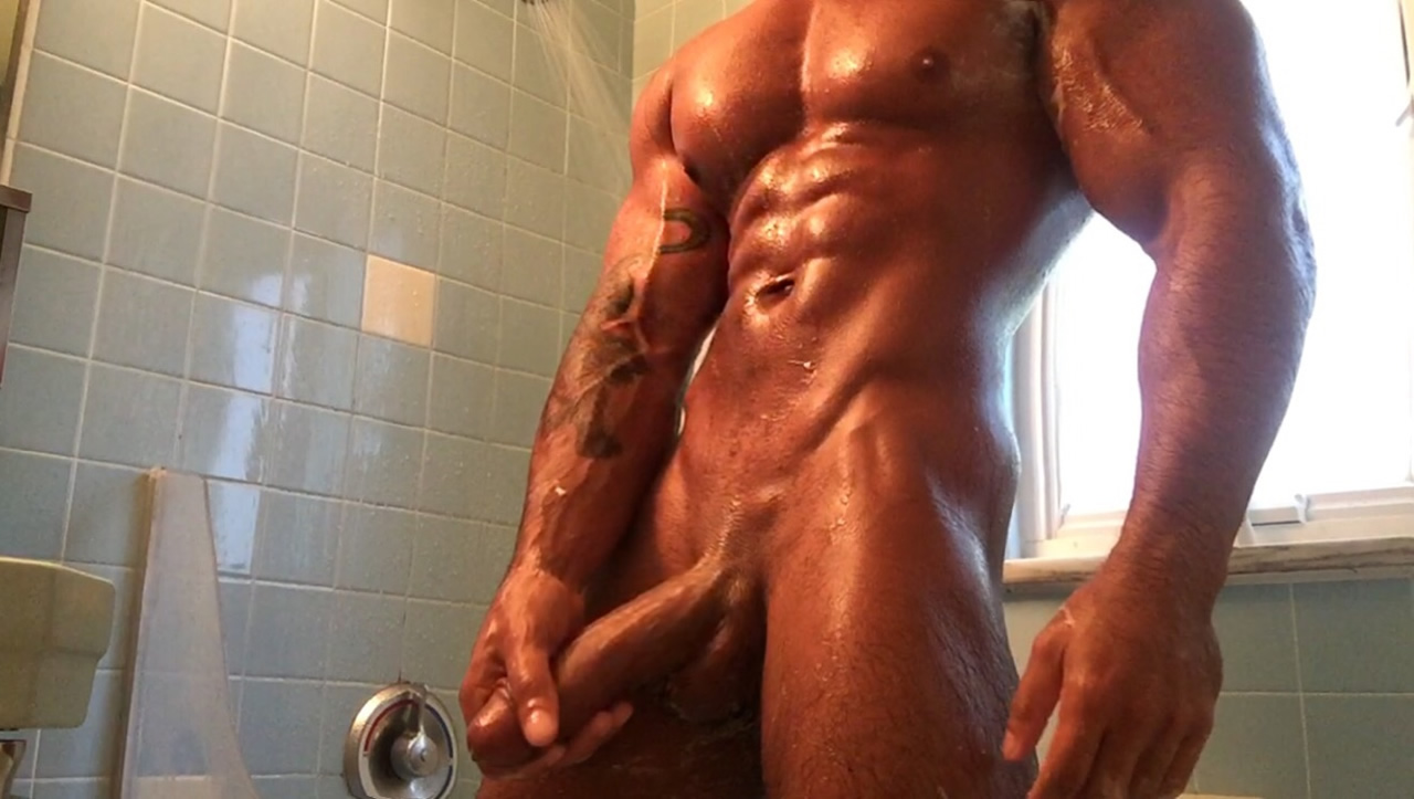 Bodybuilder Stroking His Cock in the Shower