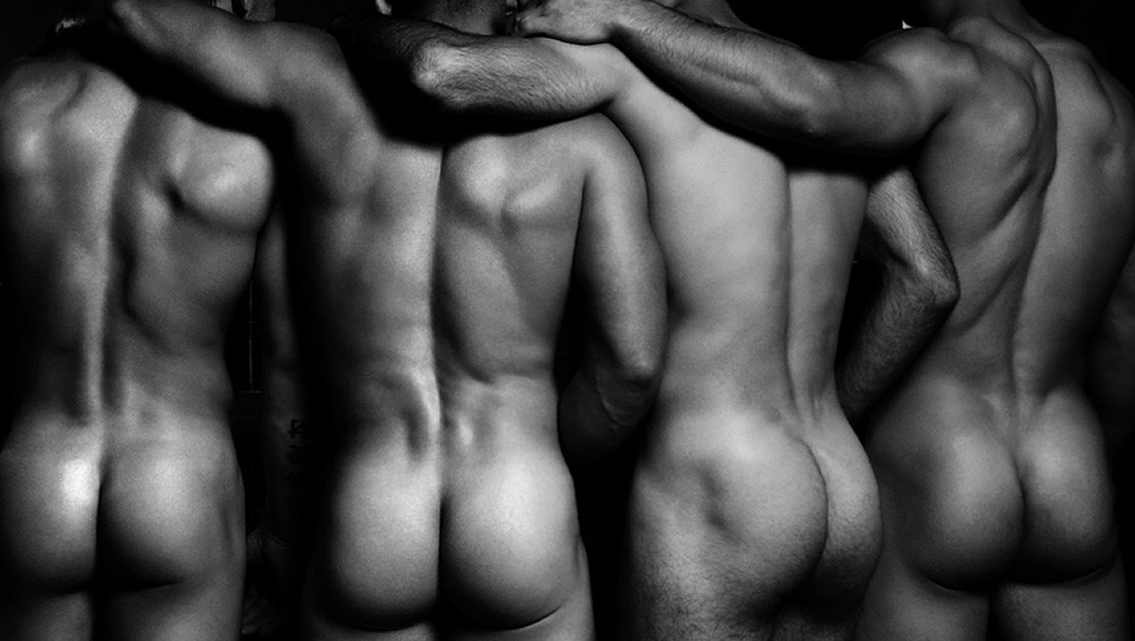 Black and White Rearview Four Naked Hunks