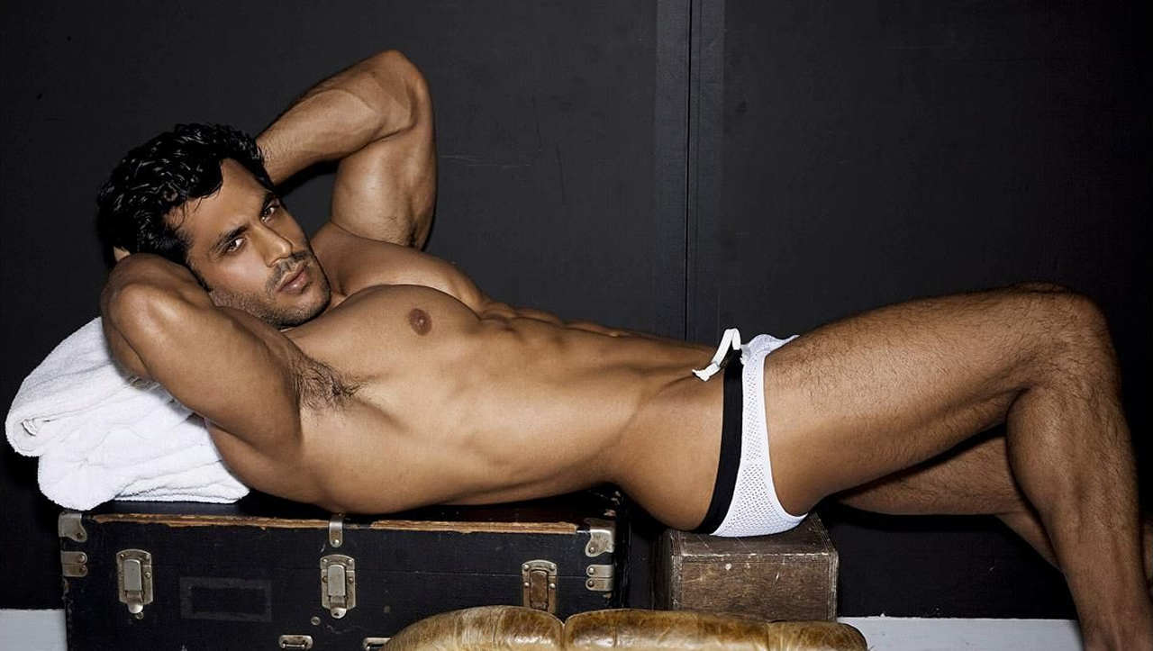 Muscular Stud in White Mesh Bikini