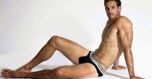 Young Hunk in Black Obviously Briefs