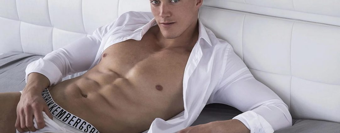 Fit Guy in White Briefs and Open Shirt