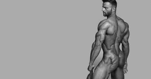 Black and White Rearview Naked Bodybuilder