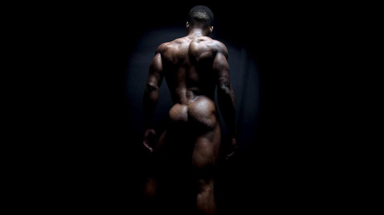 Rearview Naked Bodybuilder