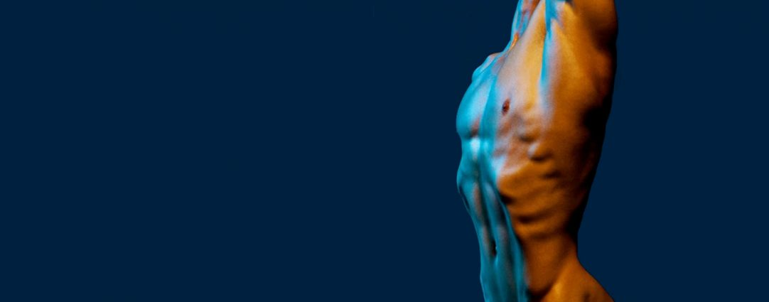 Bodyscape: Ripped Torso in Blue Light
