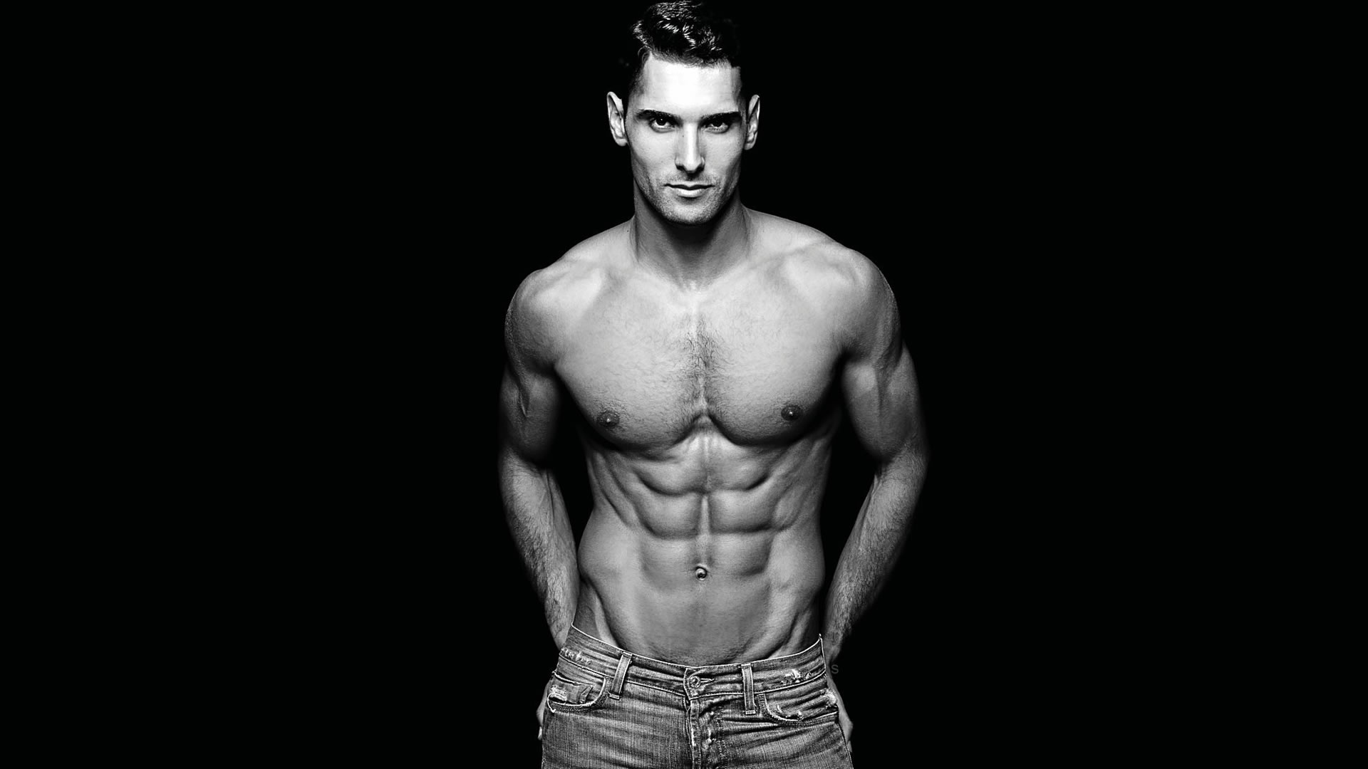 Black and White Fit Stud Shirtless in Jeans