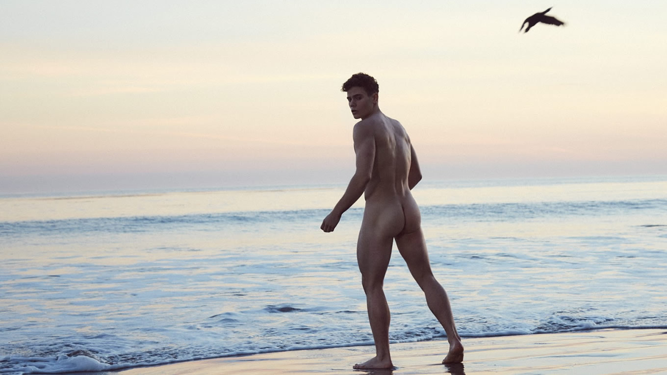 Rearview Naked Guy at the Beach