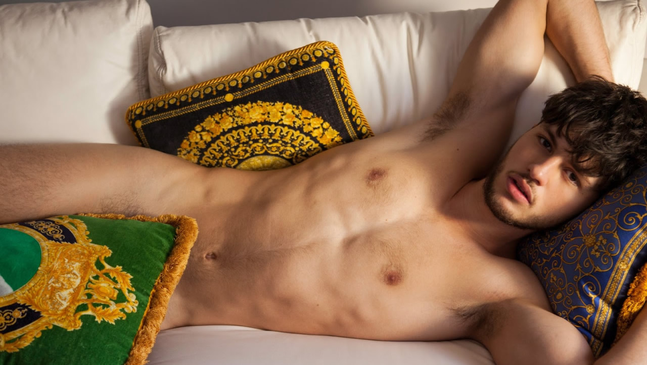 Nude Young Hunk on a Sofa