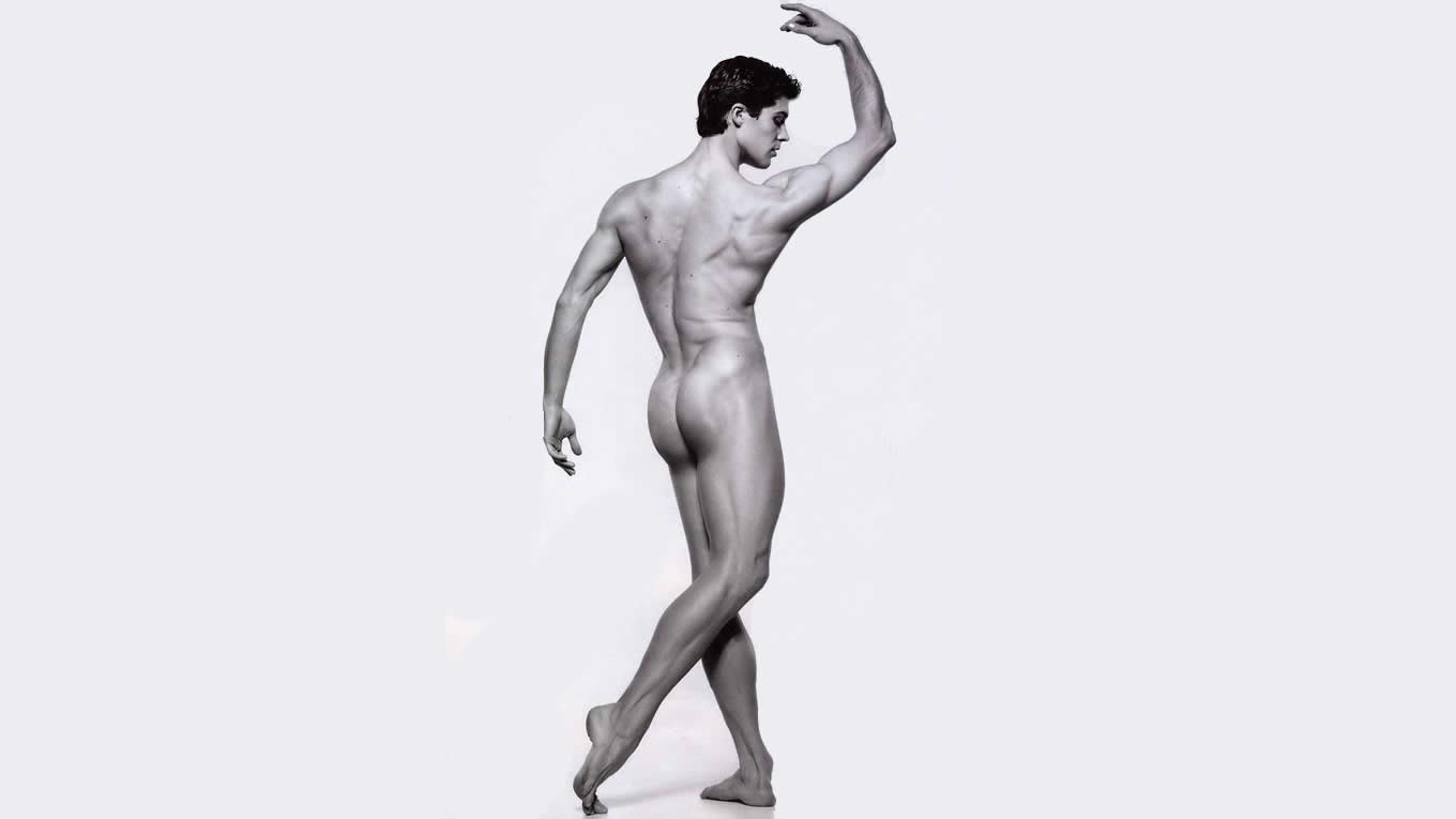 Black and White Rearview Naked Dancer
