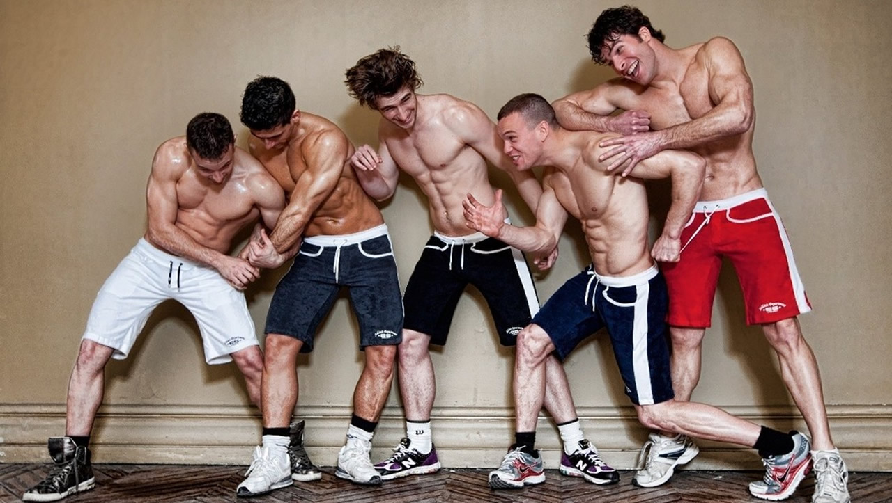 Five Athletic Shirtless Studs