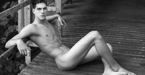 Black and White Fit Guy Naked on a Deck