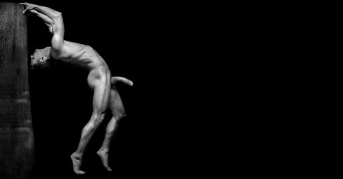 Black and White Artistic Nude with a Huge Hard Cock