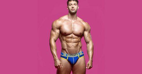 Young Bodybuilder in Blue Sparta's Briefs